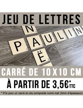 Jeu de lettres en carré de 10 x 10 cm