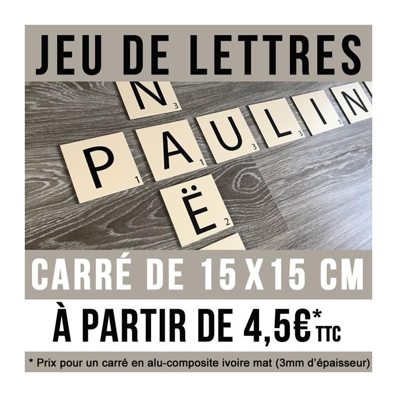 Jeu de lettres en carré de 15 x 15 cm