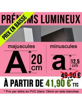 Prénom lumineux idée cadeau déco en PVC de 19 mm Hauteur capitale de 20 cm