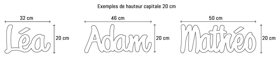 Lettres ou prénoms découpées hauteur capitale 20cm