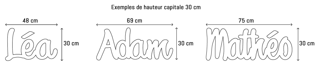 Lettres ou prénoms découpées hauteur capitale 30cm