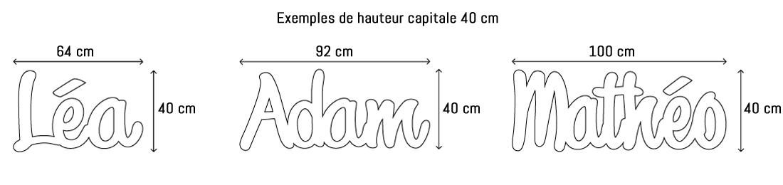 Lettres ou prénoms découpées hauteur capitale 40cm