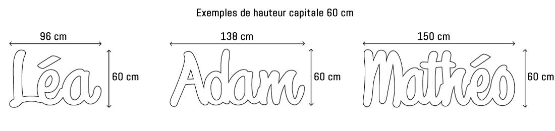 Lettres ou prénoms découpées hauteur capitale 60cm