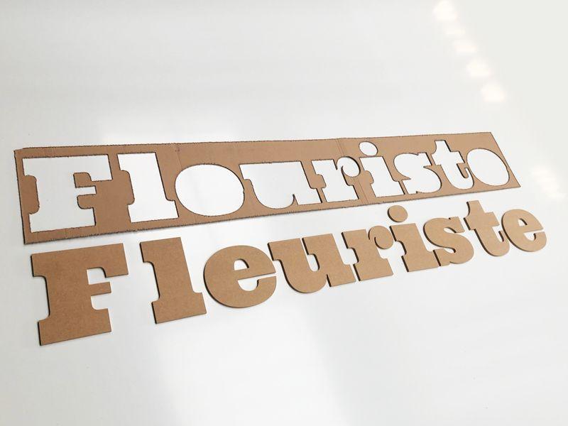 Signalétique en lettres découpées bois pour un fleuriste