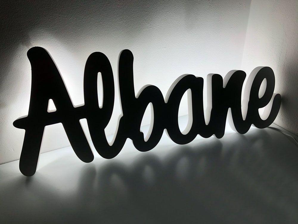 Prénom lumineux à leds pour Albane - Prénom personnalisé en rétro-éclairage