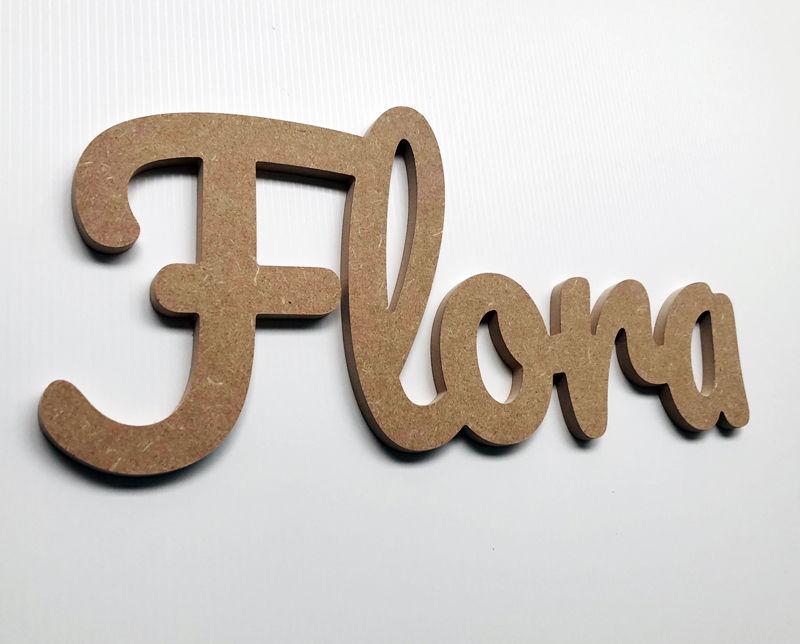 Prénom bois en lettres attachées Flora - Lettres découpées
