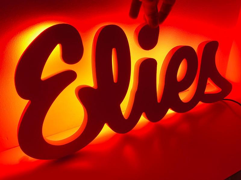 Prénom lumineux à leds rouges pour le prénom Elies