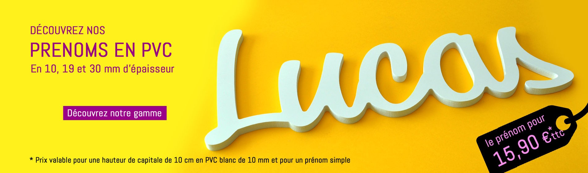 Prénoms découpés en PVC blanc de 10mm à partir de 15,9 € ttc