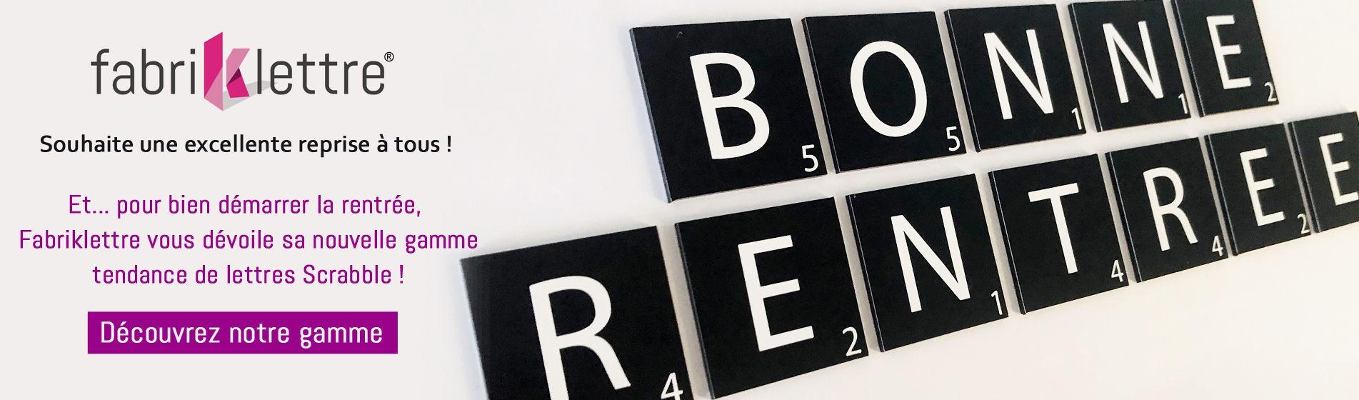 Lettres scrabble en alu noires avec lettres blanches